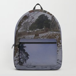Boughton Church In Winter Backpack