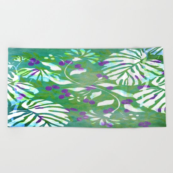 Tropical Flowers and Leaves Abstract  Beach Towel