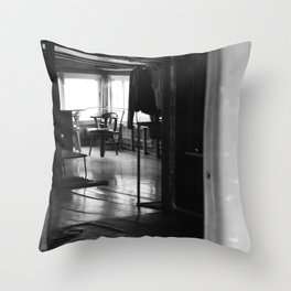 Street Photo - Vacant Home Empty Chairs - Black and White Throw Pillow