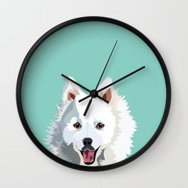 Japanese Spitz pet portrait wall art and gifts for dog breed lovers Wall Clock