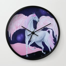 Magical Pink Flying Horse - Painting Wall Clock