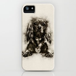 Cavalier King Charles Spaniel Puppy Sketch iPhone Case