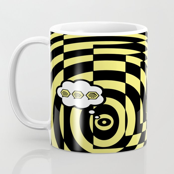 optical visual illusion thinking cloud of black and white chess board tunnel op art  Coffee Mug