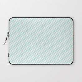 Vintage elegant pastel green white stripes Laptop Sleeve