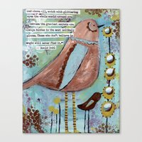 roald dahl Canvas Prints featuring  birds with Roald Dahl quote, whimsical, flowers by sunshine girl designs