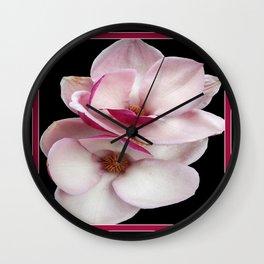 tulip magnolia twins (black bg) Wall Clock