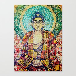 Zen Meditation Buddhist Monk Stained Glass Effect Canvas Print