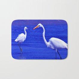 ROYAL BLUE GARZA BIRD Bath Mat