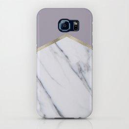 Smokey lilac - gold geometric marble iPhone Case