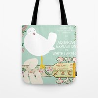 woodstock Tote Bags featuring Woodstock Birdie Collage Print by Claudia Schoen