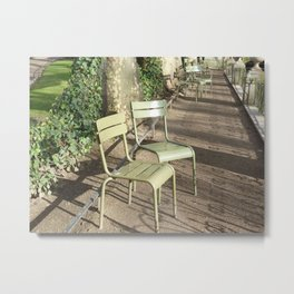 Chairs beside the Medici Fountain, Luxembourg Garden, Paris Metal Print