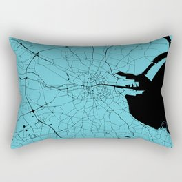 Dublin Ireland Turquoise on Black Street Map Rectangular Pillow