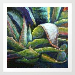 Agave Cactus Southwest Style Painting Art Print