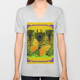 ART NOUVEAU YELLOW BUTTERFLY PEACOCK FEATHERS Unisex V-Neck