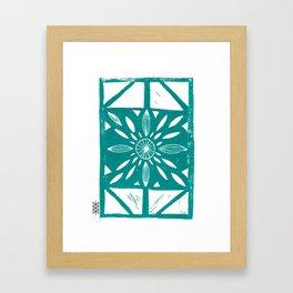 Linocut Flower Light Green Framed Art Print