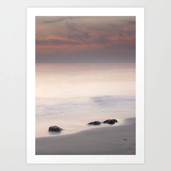 Tree sunset stones Art Print