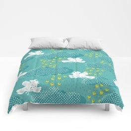 Rain Birds - Teal Comforters