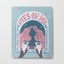 Eyes On Me - Coral Teal Metal Print