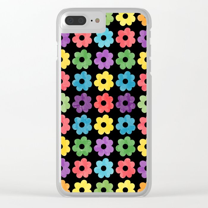 Colorful Floral Pattern V Clear iPhone Case