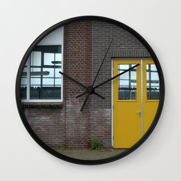 Yellow doors Wall Clock