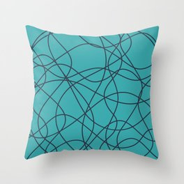 Dark Navy Blue Solid Color Scribbled Lines Abstract Hand Drawn Mosaic on Aqua Teal Turquoise - Aquarium SW 6767 Throw Pillow