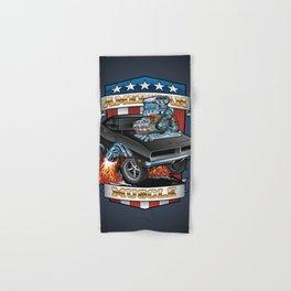 American Muscle Patriotic Classic Muscle Car Cartoon Illustration Hand & Bath Towel