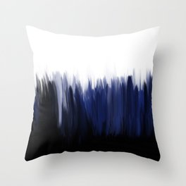 Modern blue cobalt black oil paint brushstrokes abstract Throw Pillow