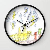 percy jackson Wall Clocks featuring Byron Rescues Percy by Ryan van Gogh