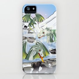 Dragons in a natural hot spring onsen iPhone Case