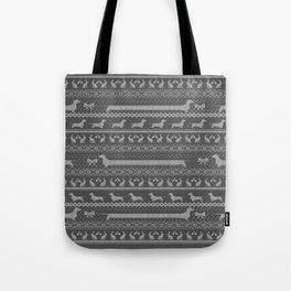Ugly christmas sweater | Smooth dachshund grey Tote Bag