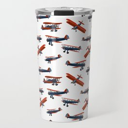 Red White and Blue Biplanes Travel Mug