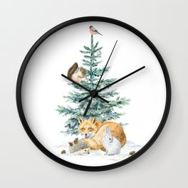 christmas tree in the forest Wall Clock