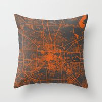 houston Throw Pillows featuring Houston map by Map Map Maps