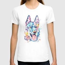 German Shepherd Watercolor Pet Portrait Painting T-shirt