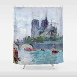 """Gustave Madelain """"The Seine and Notre Dame"""" Shower Curtain"""