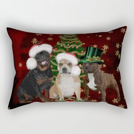 Christmas time, funny Staffordshire Bull Terrier and Rottweiler with christmas hat Rectangular Pillow