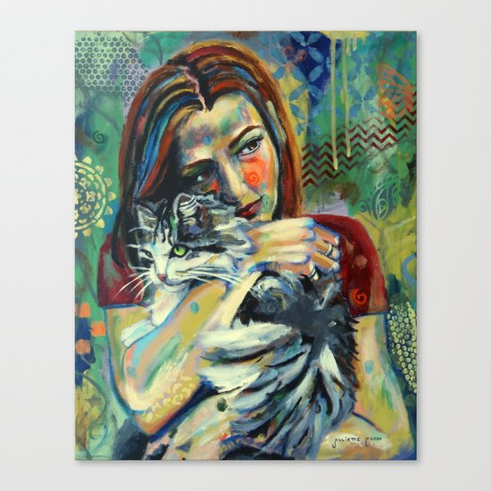 Girl With Cat 2 Canvas Print