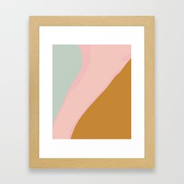 Abstract Painting in Muted Colors of Sage, Blush, and Gold Framed Art Print