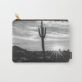 Saguaro Sunrise // Black and White Arizona Desert Landscape Photography Cactus Sun Rays Carry-All Pouch