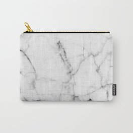 Pure White Real Marble Dark Grain All Over Carry-All Pouch