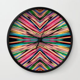 Toothpick Fusion Abstract Pattern Landscape Wall Clock