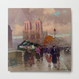 Notre Dame Cathedral, the Effect of Sunlight, Flower Market, Paris, France by Edouard Cortes Metal Print