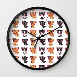 Cute black brown watercolor kitty animal pattern Wall Clock