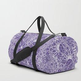 Modern white handdrawn floral pattern on purple ultra violet illustration Duffle Bag