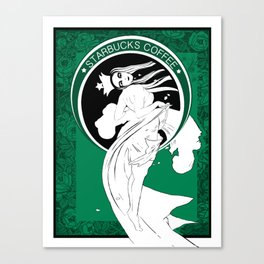 Starbucks Coffee Inspired Art Nouveau Canvas Print