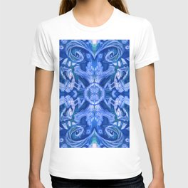 Curves & Lotuses, Bohemian Arabesque, Royal Blue White T-shirt