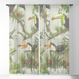 Toucans and Bromeliads (Canvas Background) Sheer Curtain