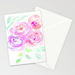 Pastel Roses Watercolor Stationery Cards