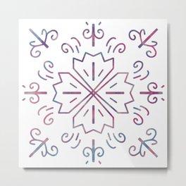 Four Leaves Clover Mandala for Luck Metal Print