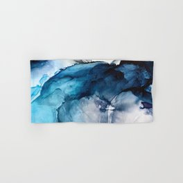 White Sand Blue Sea - Alcohol Ink Painting Hand & Bath Towel